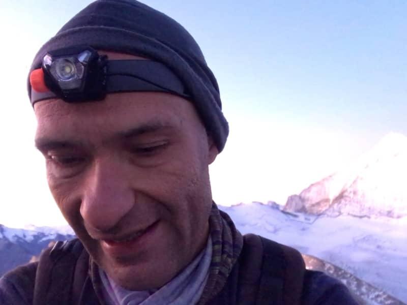 L'arrivée au sommet avec la lampe frontale Kalenji OnNight 710
