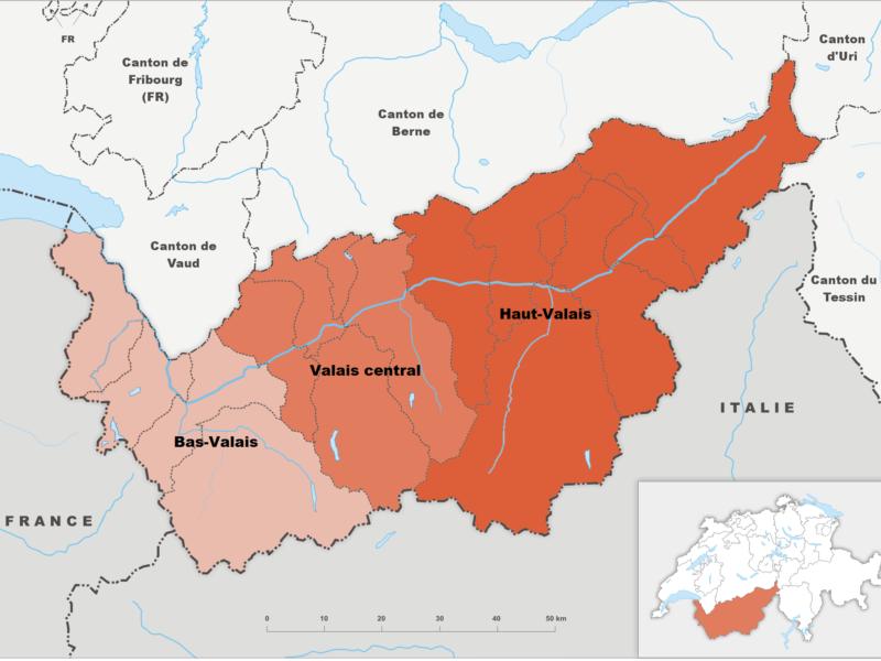 Les régions du canton du Valais, en Suisse : Haut Valais, Valais Central et Bas Valais